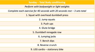 sunday workout